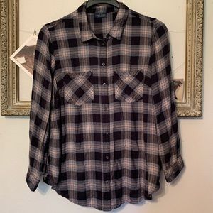 Lucky Brand Flannel Blue Plaid Size 1X